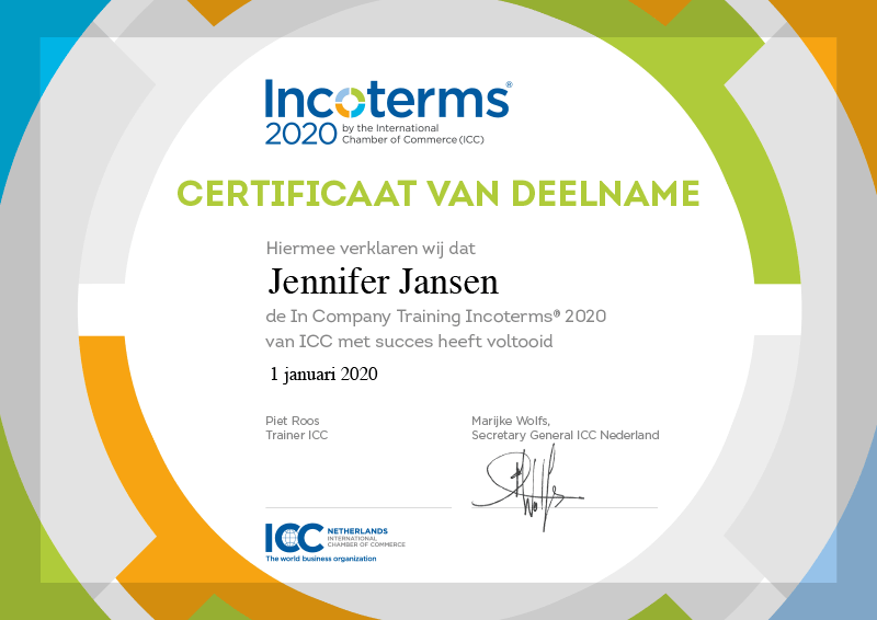 Certificaat deelname Incoterms training